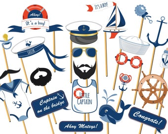 Personalized Nautical baby shower photo booth prop, Ahoy It's a Boy, NAUTICAL Photo Booth, Nautical Photo Prop, Nautical party prop ;2002022