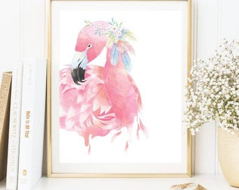 Beautiful lady flamingo print