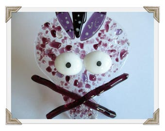 Laughing skull head, Plum, pink and Burgundy fusing