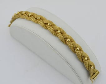 18k Yellow Gold Estate Heavy Braided Bracelet 7 1/4'' Long 25.3 Grams