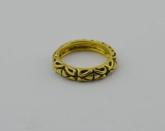 22k Yellow Gold Estate Heavy Ornate Band/ring Size 11(02911)