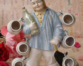 Large Vintage   porcelain figurine/jug/decanter/flask/canteen,sailor with 6 cups