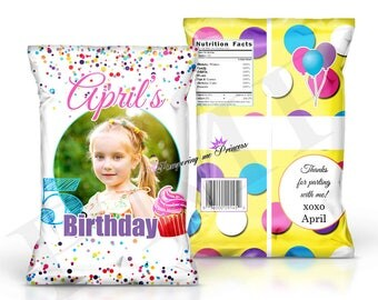 Custom Birthday Chip Bags, Party Favor Bags, Treat bags, Goody Bags, Chip Bag Printed, Custom Printed Favors, Birthday Treat Bags
