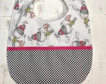 Fox and girl bib-baby girl bib handmade/polka dots-baby shower gift