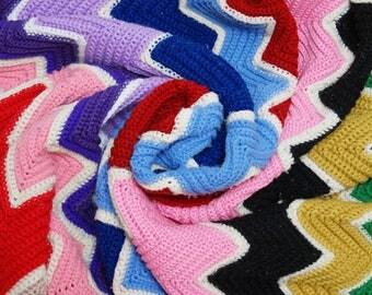 Vintage Rainbow Chevron Afghan ⎮ 70s 80s Crocheted Afghan ⎮ Handmade Blanket