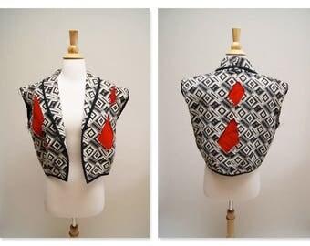 Vintage Aztec Vest ⎮ 80s 90s Tapestry Vest ⎮ Woven Boho Hippie Cut Out Vest