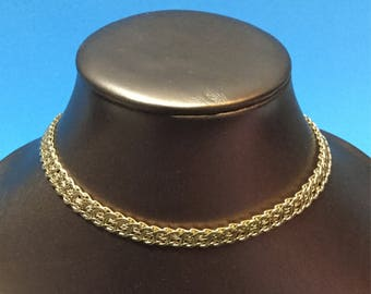 MONET 80s Intricate Flat Skinny Chain Link Vintage Gold Plated Necklace