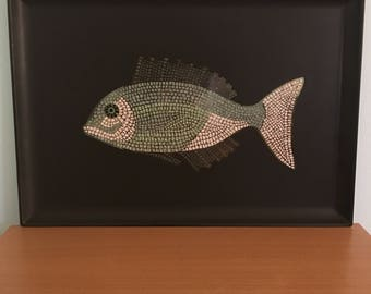 Mosaic Fish Serving Tray by Couroc. Used. Excellent condition