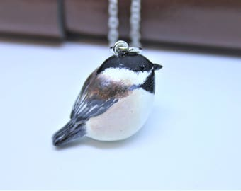 Chickadee Necklace Bird Necklace Chickadee Charm Bird Pendant Chickadee Figurine Chickadee Keychain Bird Jewelry Polymer Clay Chickadee