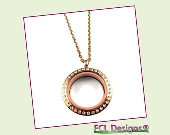 25mm CZ Rose Medium Round Floating Charm Locket Necklace
