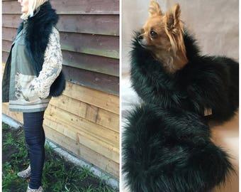 Emerald green faux fur scarf