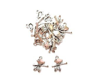 20 mother Branches 17mm x 16mm antiqued silver bird charms