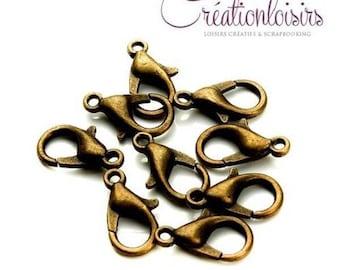 20 bronze 12 mm lobster clasps