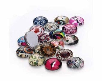 10 glass varied 12 mm round cabochons