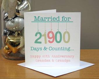 Personalised Hanging 60th Wedding Anniversary Card - Diamond Anniversary Card -  Sixtieth Anniversary Card - 60th Anniversary Card