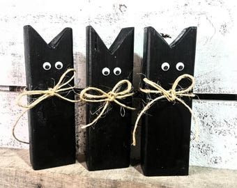 3 Reclaimed Wooden Black Cats, Reclaimed Rustic Pallet Wooden Black Cats, Rustic Halloween Decor-Fall Decor