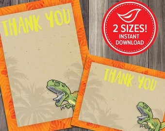 DINOSAUR Birthday Party Thank You Card - Dinosaur Party - Jurassic T Rex Prehistoric Printable Card - Instant Download