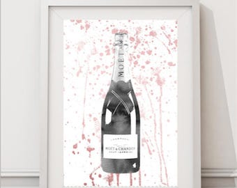11x16, inches, Grey, Rose Gold, champagne bottle, watercolor, champagne, wall art, gift for women, champagne art, celebration, BFF, kitchen