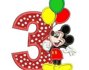 Mickey Mouse 3rd birthday Holding a Balloons Applique Design 3 sizes instant download