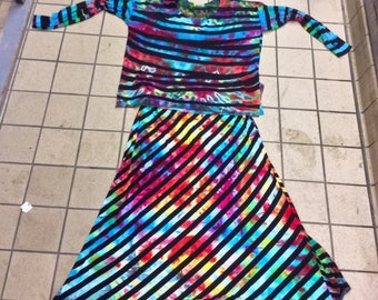Matching Rayon top/skirt combo ice dyed