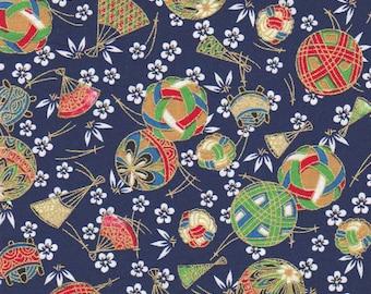 Japanese fabric temari Blue Navy pattern balls 50 x 55 cm