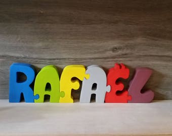 Letters name Rafael personalized wooden puzzle toy