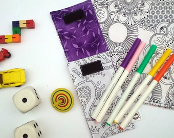 Large pouch to markers and 5 washable markers. Paisley pattern, purple interior. Coloring, Mandala, Color Pencil case I felt