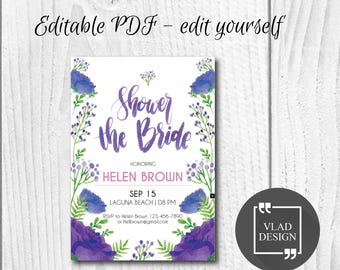 Editable Bridal Shower Invitation, Editable PDF, Watercolor bridal shower invite, Purple flower Printable invitation, Bridal shower template