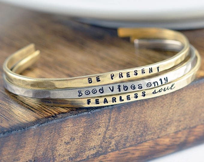 Inspirational Bracelet, Cuff Bracelet, Personalized Cuff, Inspirational Jewelry, Engraved Bracelet, Inspirational Gifts,Gift for Her