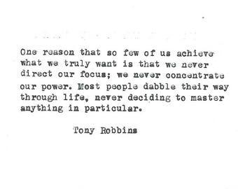 Tony Robbins hand typed vintage typewriter quote