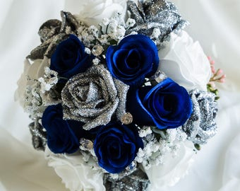 Navy and Silver Glitter Rose Wedding Bouquet
