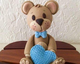 Boy or girl Baby  teddy Bear cake topper,3D fondant Teddy Bear cake topper,girl teddy bear cake topper,birthday cute teddy bear cake topper