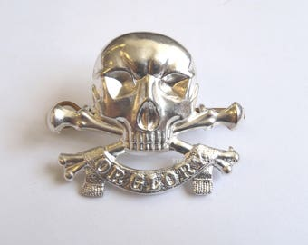 17/21st Lancers Officers Cap/Hat Badge - British Army - Silver Skull - NEW - E312