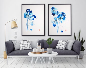 High Quality Navy Blue Watercolor Prints Set Iris Flowers Artwork Fine Art Prints Wall  Decor Modern Living Room Gallery