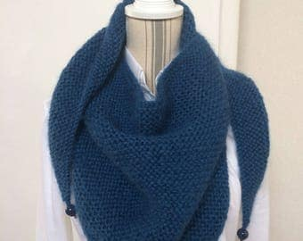 Trendy blue shawl in wool and mohair with pearls