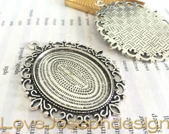 10 Pieces /Lot Antique Silver & Bronze Plated 30mmx40mm cabochon trays charms