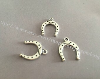 wholesale 100 Pieces /Lot Antique Silver & Bronze Plated 16mmx13mm small horseshoe charms (#023)