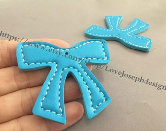 15 Pieces /Lot blue 55mmx46mm fuax leather earring bowknot charms (#0549)