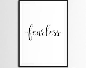 Fearless Print - Baydreem. Text Wall Art Inspiring Words Motivational Quote Text Wall Art Words Art Text Art Quote Art Modern Quote Wisdom