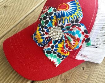 Womens gifts, red trucker cap, women's trucker cap, red and white