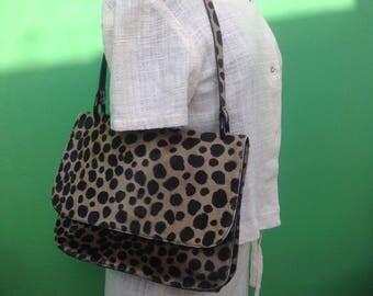 90s Shoulderbag | Bag Al duca d'Aosta | Leopard print haircalf shoulder bag | Printed pony bag | Vintage bag | Vintage printed pony leather