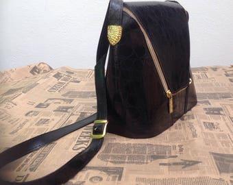 90s shoulder bag   faux leather shoulder bag   Vintage shoulder bag
