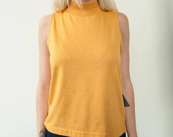 ON SALE 1970's Vintage Mustard Yellow Turtleneck Tank with Decorative Neckline