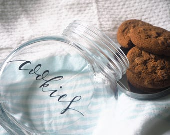 Glass Cookie Jar | Hand lettered
