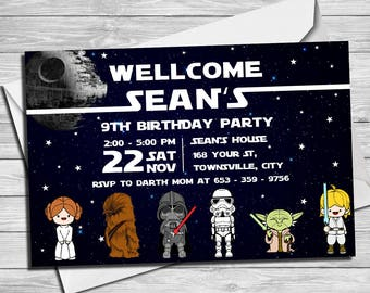 Star Wars Invitation - Star Wars Party Invitation- Star Wars Birthday Party Invite- Star Wars Party Printable- Darth Vader Invitation |SWC_1