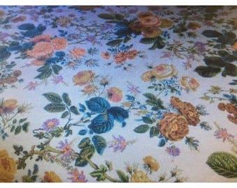 Vintage Morgan Jones Bedspread Huge Cabbage Roses CUTTER