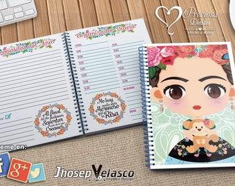 Printable calendar 2018 Frida Chibi A5 PDF-PPTX