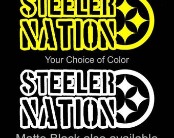 """Steeler Nation Large 8.5"""" Vinyl Decal/Sticker Free Shipping! Pittsburgh Steelers"""