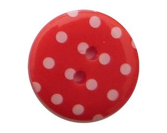 6 buttons round dot 1.8 cm Red
