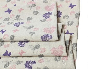 Cotton fabric, linen patchwork decor sewing 50 x 45 cm leaf Butterfly